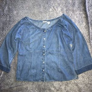 PLUS size denim off the shoulders top